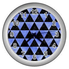 Triangle3 Black Marble & Blue Watercolor Wall Clock (silver) by trendistuff