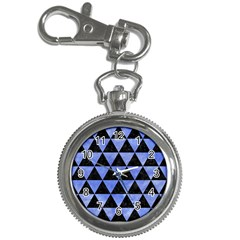 Triangle3 Black Marble & Blue Watercolor Key Chain Watch by trendistuff