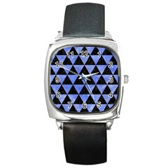 Triangle3 Black Marble & Blue Watercolor Square Metal Watch by trendistuff