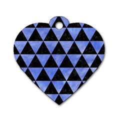 Triangle3 Black Marble & Blue Watercolor Dog Tag Heart (one Side) by trendistuff