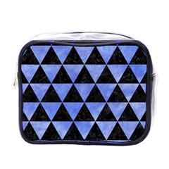 Triangle3 Black Marble & Blue Watercolor Mini Toiletries Bag (one Side) by trendistuff