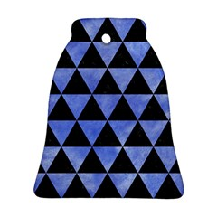 Triangle3 Black Marble & Blue Watercolor Bell Ornament (two Sides) by trendistuff