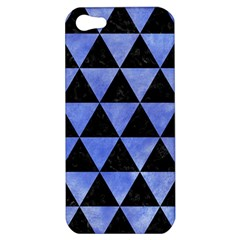 Triangle3 Black Marble & Blue Watercolor Apple Iphone 5 Hardshell Case by trendistuff