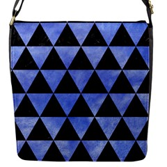 Triangle3 Black Marble & Blue Watercolor Flap Closure Messenger Bag (s) by trendistuff