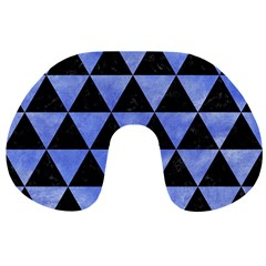 Triangle3 Black Marble & Blue Watercolor Travel Neck Pillow by trendistuff