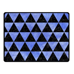 Triangle3 Black Marble & Blue Watercolor Double Sided Fleece Blanket (small) by trendistuff