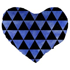 Triangle3 Black Marble & Blue Watercolor Large 19  Premium Flano Heart Shape Cushion by trendistuff