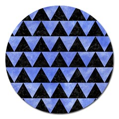 Triangle2 Black Marble & Blue Watercolor Magnet 5  (round) by trendistuff