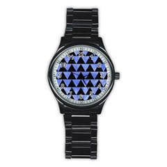 Triangle2 Black Marble & Blue Watercolor Stainless Steel Round Watch by trendistuff