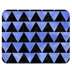 Triangle2 Black Marble & Blue Watercolor Double Sided Flano Blanket (medium) by trendistuff