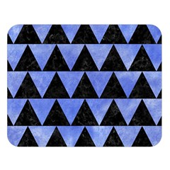 Triangle2 Black Marble & Blue Watercolor Double Sided Flano Blanket (large) by trendistuff