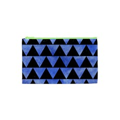 Triangle2 Black Marble & Blue Watercolor Cosmetic Bag (xs) by trendistuff