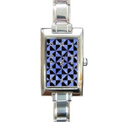 Triangle1 Black Marble & Blue Watercolor Rectangle Italian Charm Watch by trendistuff