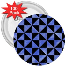 Triangle1 Black Marble & Blue Watercolor 3  Button (100 Pack) by trendistuff