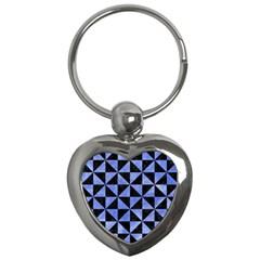 Triangle1 Black Marble & Blue Watercolor Key Chain (heart) by trendistuff