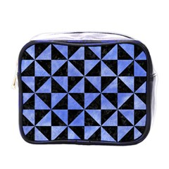 Triangle1 Black Marble & Blue Watercolor Mini Toiletries Bag (one Side) by trendistuff
