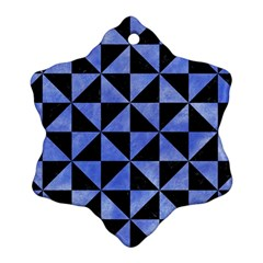 Triangle1 Black Marble & Blue Watercolor Snowflake Ornament (two Sides) by trendistuff