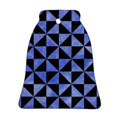Triangle1 Black Marble & Blue Watercolor Bell Ornament (two Sides) by trendistuff