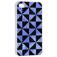 Triangle1 Black Marble & Blue Watercolor Apple Iphone 4/4s Seamless Case (white) by trendistuff
