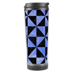 Triangle1 Black Marble & Blue Watercolor Travel Tumbler by trendistuff