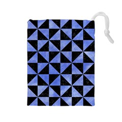 Triangle1 Black Marble & Blue Watercolor Drawstring Pouch (large) by trendistuff