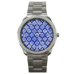 Tile1 Black Marble & Blue Watercolor (r) Sport Metal Watch by trendistuff
