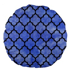 Tile1 Black Marble & Blue Watercolor (r) Large 18  Premium Flano Round Cushion  by trendistuff