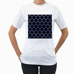 Tile1 Black Marble & Blue Watercolor Women s T Shirt (white) (two Sided) by trendistuff
