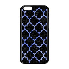 Tile1 Black Marble & Blue Watercolor Apple Iphone 6/6s Black Enamel Case