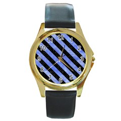 Stripes3 Black Marble & Blue Watercolor (r) Round Gold Metal Watch by trendistuff