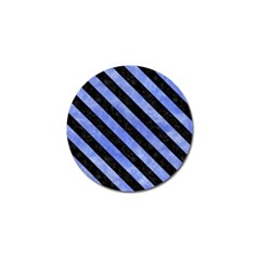 Stripes3 Black Marble & Blue Watercolor (r) Golf Ball Marker (10 Pack) by trendistuff