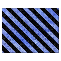 Stripes3 Black Marble & Blue Watercolor (r) Jigsaw Puzzle (rectangular) by trendistuff