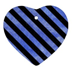 Stripes3 Black Marble & Blue Watercolor (r) Heart Ornament (two Sides) by trendistuff