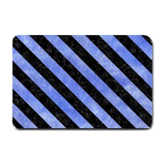 Stripes3 Black Marble & Blue Watercolor (r) Small Doormat by trendistuff