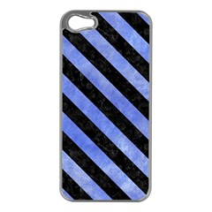 Stripes3 Black Marble & Blue Watercolor (r) Apple Iphone 5 Case (silver) by trendistuff
