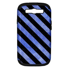 Stripes3 Black Marble & Blue Watercolor (r) Samsung Galaxy S Iii Hardshell Case (pc+silicone) by trendistuff