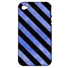 Stripes3 Black Marble & Blue Watercolor (r) Apple Iphone 4/4s Hardshell Case (pc+silicone) by trendistuff