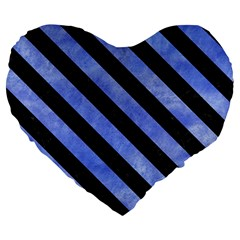 Stripes3 Black Marble & Blue Watercolor (r) Large 19  Premium Heart Shape Cushion by trendistuff