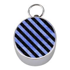 Stripes3 Black Marble & Blue Watercolor (r) Silver Compass (mini) by trendistuff