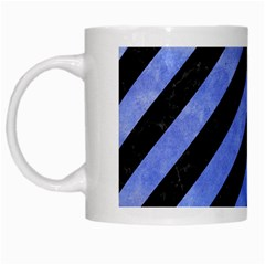 Stripes3 Black Marble & Blue Watercolor White Mug by trendistuff