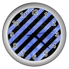 Stripes3 Black Marble & Blue Watercolor Wall Clock (silver) by trendistuff