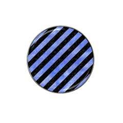 Stripes3 Black Marble & Blue Watercolor Hat Clip Ball Marker (4 Pack) by trendistuff
