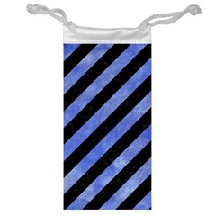 Stripes3 Black Marble & Blue Watercolor Jewelry Bag by trendistuff