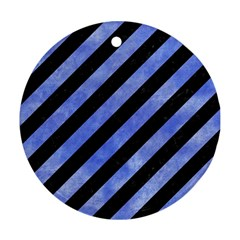 Stripes3 Black Marble & Blue Watercolor Round Ornament (two Sides) by trendistuff