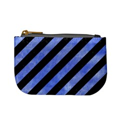 Stripes3 Black Marble & Blue Watercolor Mini Coin Purse by trendistuff