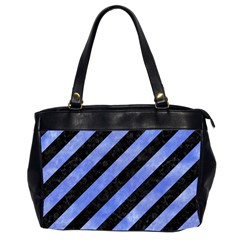Stripes3 Black Marble & Blue Watercolor Oversize Office Handbag (2 Sides) by trendistuff