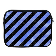 Stripes3 Black Marble & Blue Watercolor Apple Ipad Zipper Case by trendistuff