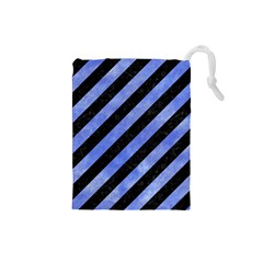 Stripes3 Black Marble & Blue Watercolor Drawstring Pouch (small) by trendistuff