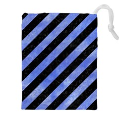 Stripes3 Black Marble & Blue Watercolor Drawstring Pouch (xxl) by trendistuff