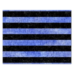 Stripes2 Black Marble & Blue Watercolor Jigsaw Puzzle (rectangular)